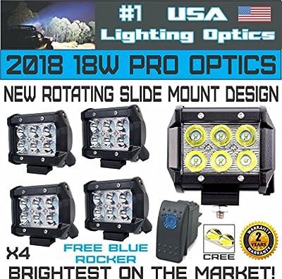 "#1 4x 4"" USA Lighting Optics TM 18W 6 CREE LED Brightest on the Market! SUV Off-road Boat Headlight Spot Driving Fog Light + Mounting Bracket"