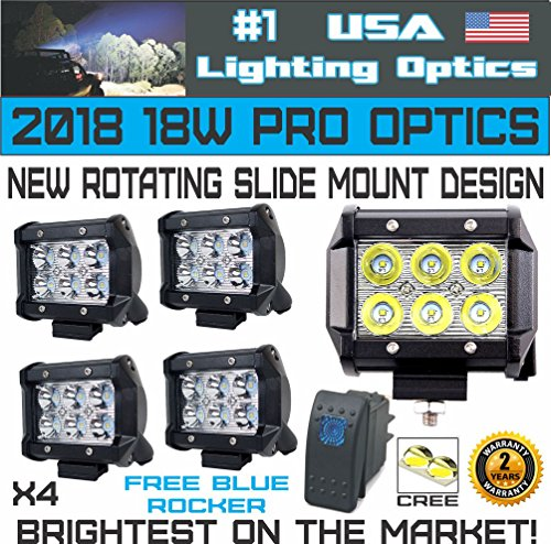 #1 4x 4 USA Lighting Optics TM 18W 6 CREE LED Brightest on the Market! SUV Off-road Boat Headlight Spot Driving Fog Light + Mounting Bracket