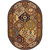 Safavieh Heritage Collection HG512B Handcrafted Traditional Oriental Multi and Red Wool Oval Area Rug (4'6'' x 6'6'' Oval)