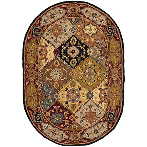 Safavieh Heritage Collection HG512B Handcrafted Traditional Oriental Multi and Red Wool Oval Area Rug (4'6'' x 6'6'' Oval) by Safavieh