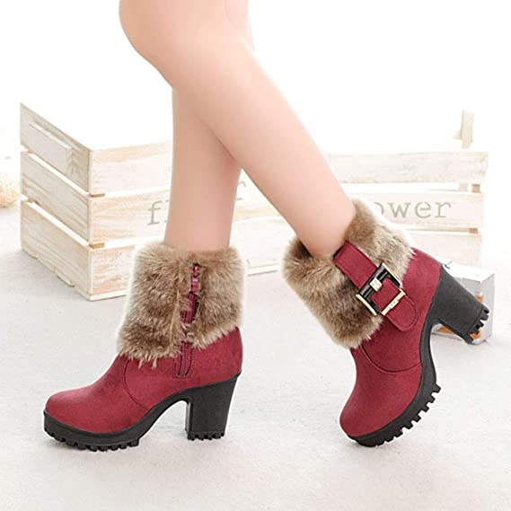Amazon.com: for Shoes,AIMTOPPY Womens Shoes Short Tube Thick with Buckle Buckle Fluffy Warm Boots: Computers & Accessories