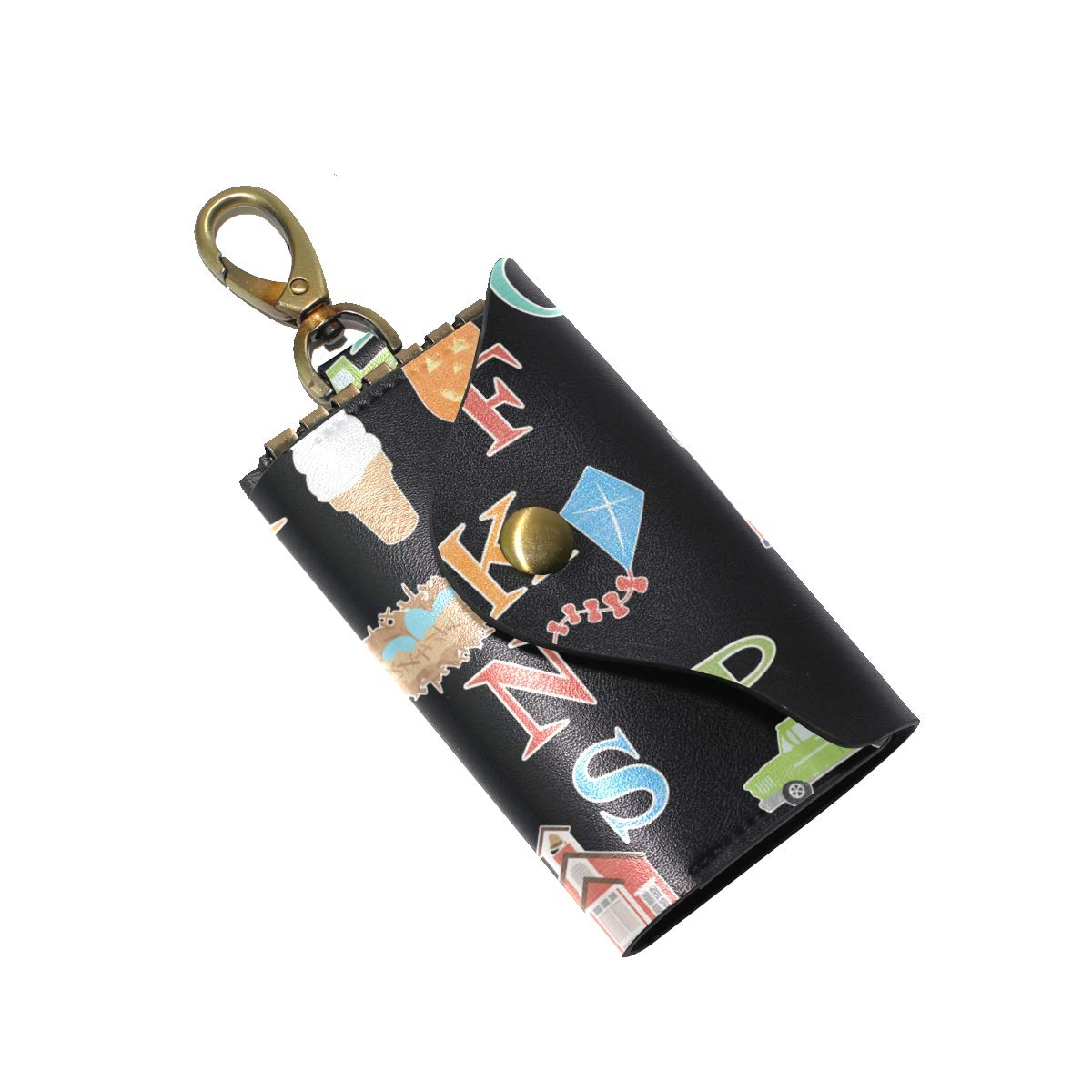 KEAKIA A To Z Alphabets Leather Key Case Wallets Tri-fold Key Holder Keychains with 6 Hooks 2 Slot Snap Closure for Men Women
