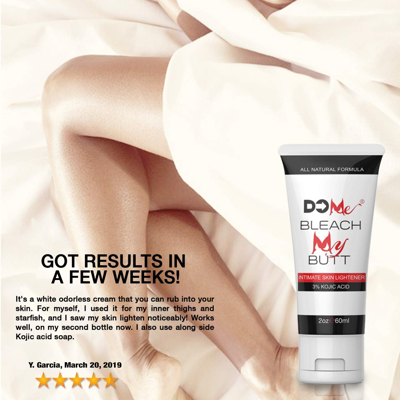 Premium Intimate Whitening Cream - Bleach My Butt - All Natural Formula to Pink Your Wink (2oz) (Bleach My Butt) by Do Me (Image #2)
