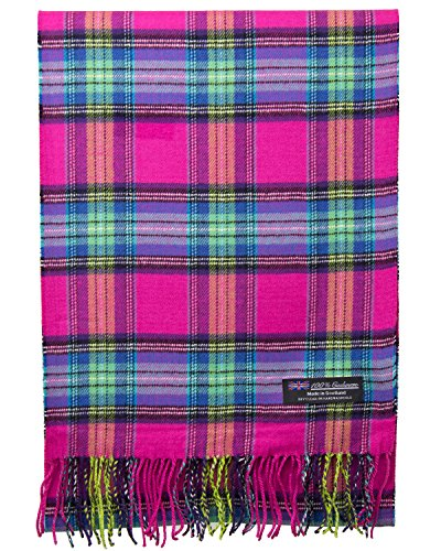 (2 PLY 100% Cashmere Scarf Elegant Collection Made in Scotland Wool Solid Plaid (Hot Pink Green Blue Tartan Plaid))