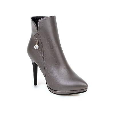 AgooLar Damen Reißverschluss Niedrig-Spitze PU Stiletto Stiefel, Grau, 35