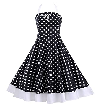 6658684f9709 Tecrio Vintage 50s 60s Style Marilyn Costume Halter Neck Polka Dots Party  Dress S Black
