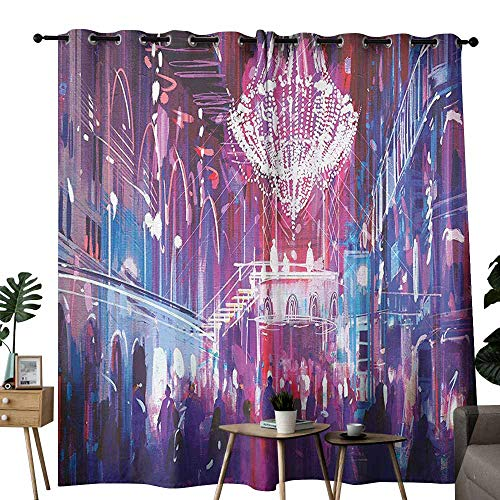 Fantasy Art House Decor Thermal Curtains Opera Opening Elite People Night Club Bright Lights Big Crowd Artwork Noise Reducing W96 x L108 Blue