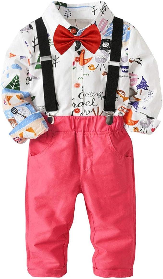 Goyajun Bebé Chicos Caballero Traje de Trajes - Rosa Pantalones + ...