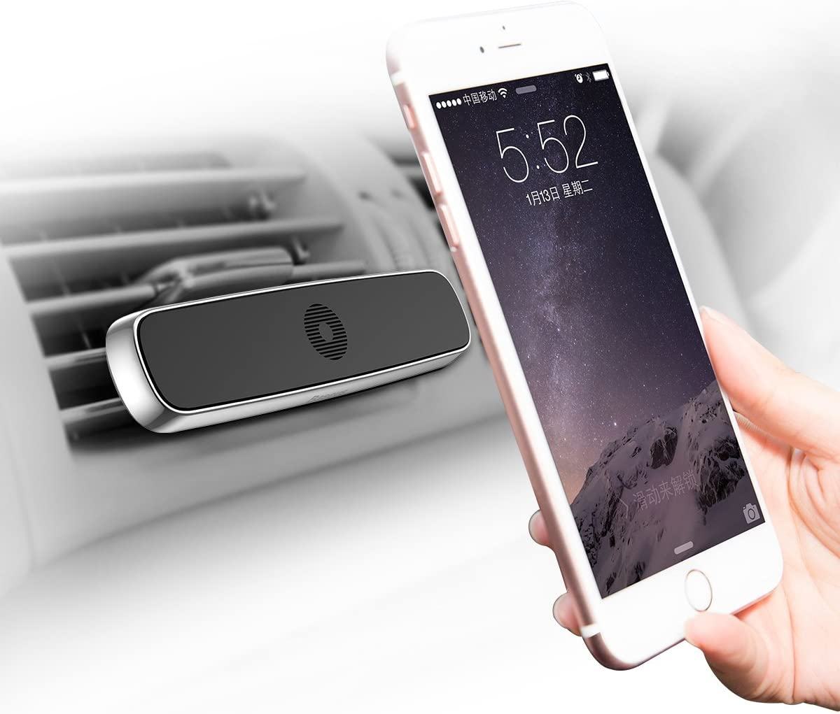 Baseus Car Air Vent Magnetic Mount Phone Double Clip Horizontal Holder Universal Dash Dashboard Mount for iPhone X 8 Plus 7 Plus,Samsung Galaxy Note 8//S8 Plus//S8 Cell Phone Mount