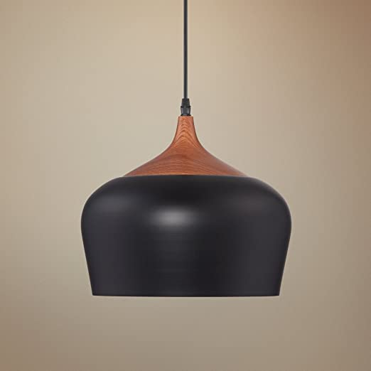 Felton black aluminum and wood 12 wide pendant amazon aloadofball Images