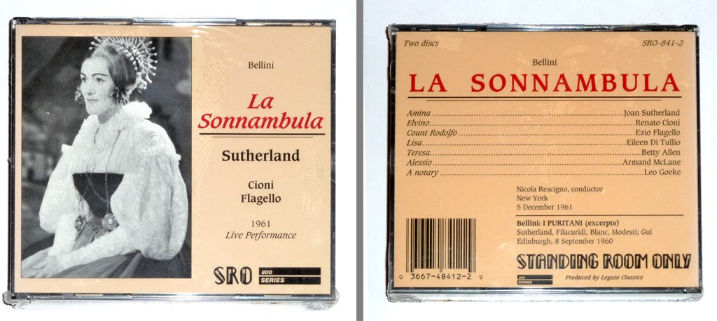 Bellini: La Sonnambula (complete opera) - Live Performance New York 5 December 1961 / Bellini: I Puritani (excerpts) Edinburgh 8 September 1960