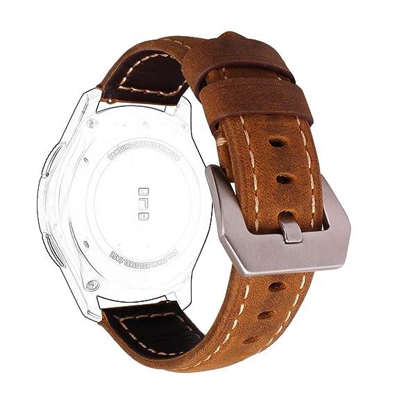 Correas Samsung Gear S3 Cuero Marron,Correa Samsung Gear S3 Frontier Correas Gear S3 Classic Rosa Schleife® Correa piel Smartwatch Samsung S3 Banda ...