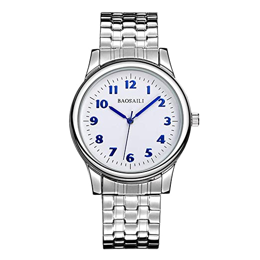 Relojes de Correa elástica de Plata del Resorte, Escala de Números Arábigos Relojes de Pulsera Casual, 38MM Dial Blanca: Amazon.es: Relojes