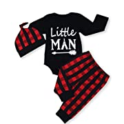 Baby Little Man Long Sleeve Print Romper Plaid Pants Hat Outfits Layette Set (Black, 6-12 Months)