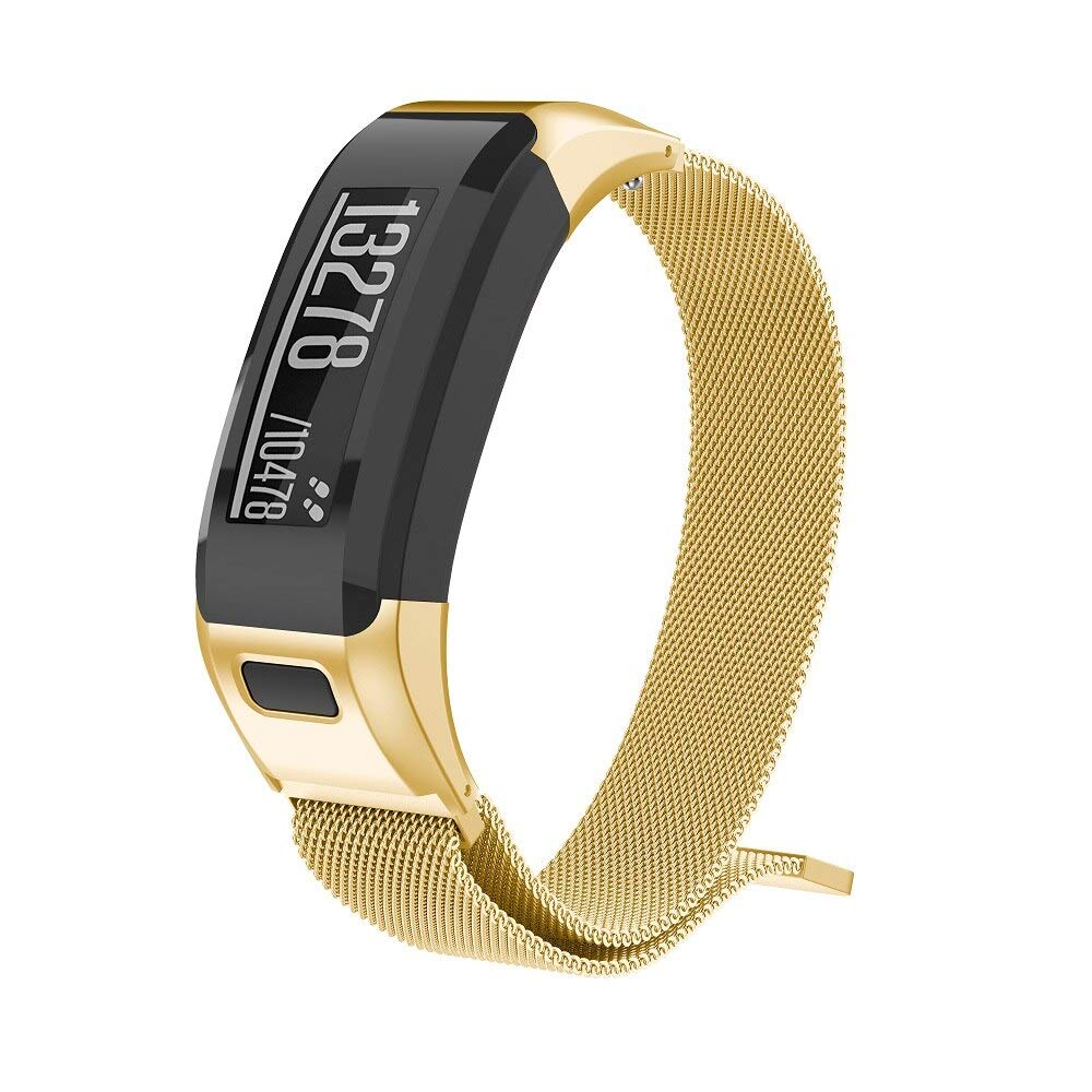 D-Electro Component Replacement Magnetic Strap for Garmin Vivosmart Hr Watch Band Stainless Steel Band for Vivosmart Hr Bracelet with Tool (Gold, Large Size) by D-Electro Component