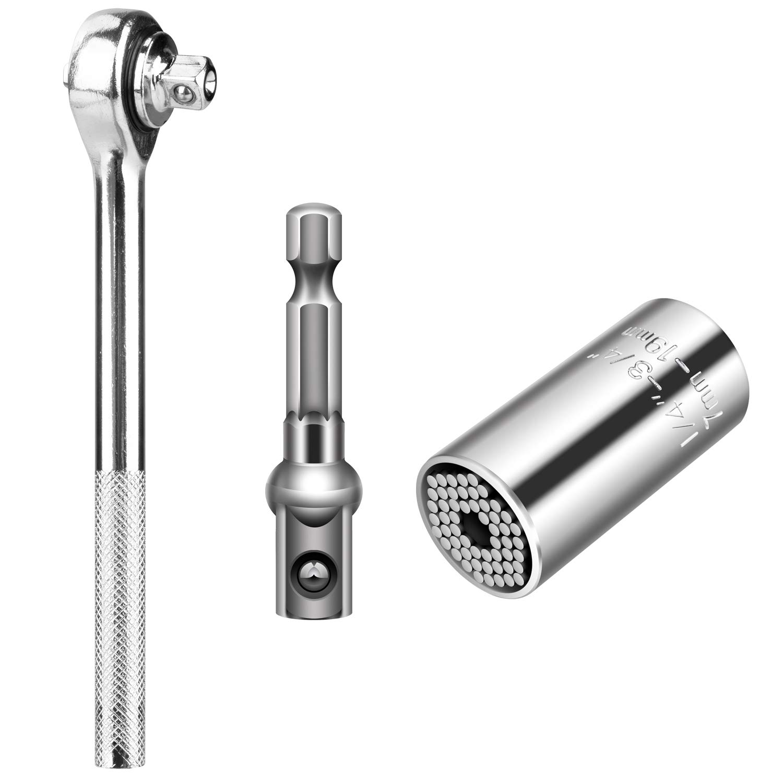 Universal Socket,NOUVCOO Professional 7mm-19mm Universal Sockets Adapter Tools Gifts for Men Husband Dad Father DIY Handyman Women NC18