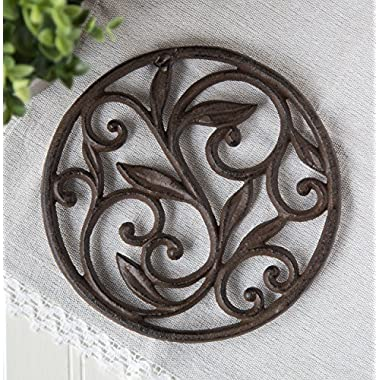 Cast Iron Trivet | Round with Vintage Pattern | Decorative Cast Iron Trivet For Kitchen Or Dining Table | 7.7   Diameter | With Rubber Pegs | by Comfify C?-1504-09-B?