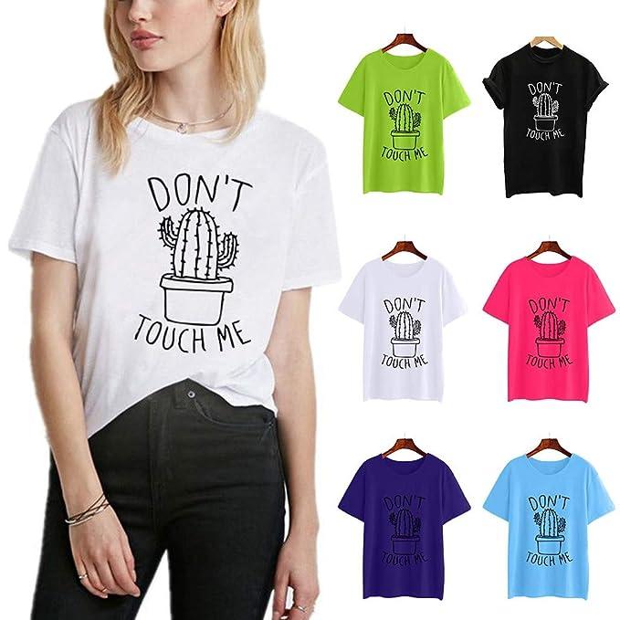 VRTUR Mujeres niñas Tallas Grandes Imprimir Camiseta Camisa de Manga Corta de algodón Blusa Blusas S-3XL Many Colours: Amazon.es: Ropa y accesorios