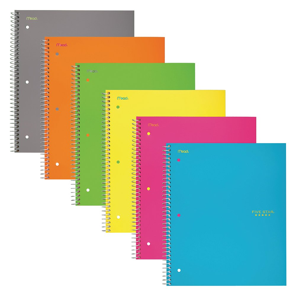 Five Star Spiral Notebooks, 3 Subject, Wide Ruled Paper, 150 Sheets, 10-1/2'' x 8'', Assorted Colors, 6 Pack (73449)