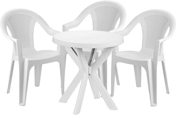 mojawo® Bistro cama de 4 piezas Bistro Mesa Redonda de Plástico ø70 cm h72 cm + 2 sillas apilables plástico color blanco: Amazon.es: Jardín