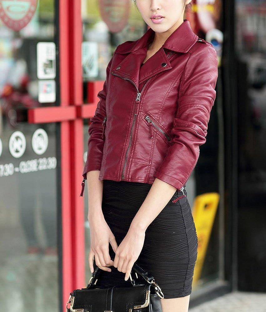 Femme Veste en Cuir PU Blousons Fermeture Manteau Court Veste Slim Fit Manches Longues Vin rouge