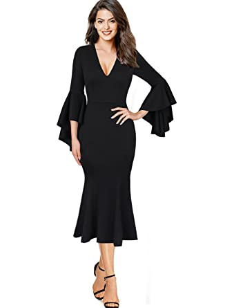 VfEmage Womens Sexy V-Neck Bell Sleeves Work Party Cocktail Sheath Dress  8992 BLK S fd27bf8ee