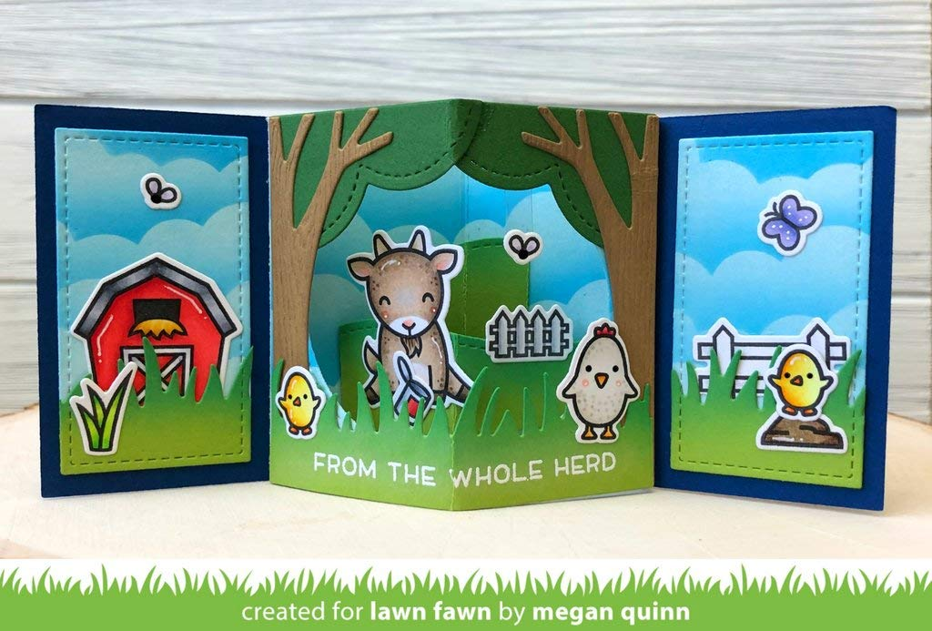 LF1971, LF1972 Bundle of Two Items Lawn Fawn Center Picture Window Card and Window Card Add-on