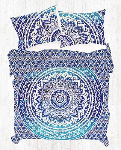 Reversible Ombre Mandala DUVET COVER By Jaipur Handloom, Ombre mandala quilt cover, Donna Cover Bedding Coverlet comforter Quilt cover (Blue)
