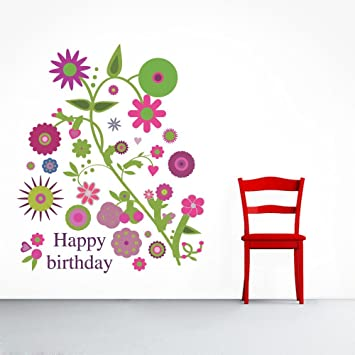 0d86157c334 Buy Impression PVC Vinyl Happy Birthday Design Wall Sticker Cover Area  -  22 X 27 inch Online at Low Prices in India - Amazon.in