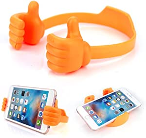Storite OK Thumbs Up Mobiles Phone Tablet Holder Multi-Angle Cute TPU Plastic Flexible All Universal Mobile Phone and Tablet Bed Desk Stand for Kitchen, Office, Bedroom,Bathroom (2 Pack - Orange)