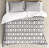 Cream Queen Size Duvet Cover Set by Lunarable, Moroccan Style Trellis Pattern with Geometric Design Arabian Oriental Retro Inspired, Decorative 3 Piece Bedding Set with 2 Pillow Shams, Grey Beige