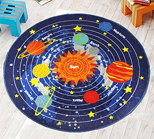 Star Pattern Kids Rugs For Playroom Cartoon Carpet For Boys Living Room Fun Area Rugs (Round 39'', 2)
