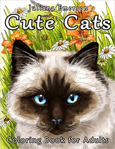 Amazon Cute Cats Coloring Book For Adults 9781523851980 Juliana Emerson Happy Books