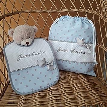 05b335554 Bolsa de Merienda y Babero Personalizados con nombre Bordado de BORDADOS  LOYMAR: Amazon.es: Bebé