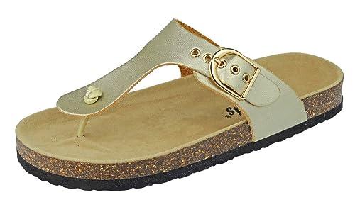 c693fcc1e OUTWOODS Women s Bork-37 Vegan Leather Adjustable T-Strap Thong Sandals (6 B