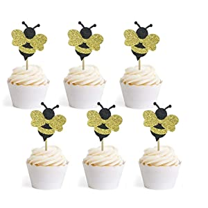 36 PCS Glitter Bumble Bee Cupcake Toppers for Bumble Bee Gender Reveal Baby Shower Birthday Party Decor