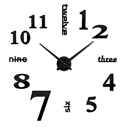 Batop Quartz Clocks - Fashion Watches 3D Real Big Wall - Clock Rushed Mirror Sticker -