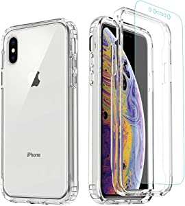iPhone Xs MAX Case,iPhone Xs MAX Clear Case,Misscase Full Body Protecive Shockproof Hard Plastic & Soft TPU Case with Tempered Glass Screen Protector for iPhone Xs MAX 6.5 inch Clear