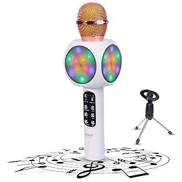 judyelc bolsillo inalámbrico Bluetooth micrófono Karaoke reproductor de aleación de altavoz Altavoz con discoteca LED iluminación para Apple iOS/Android ...