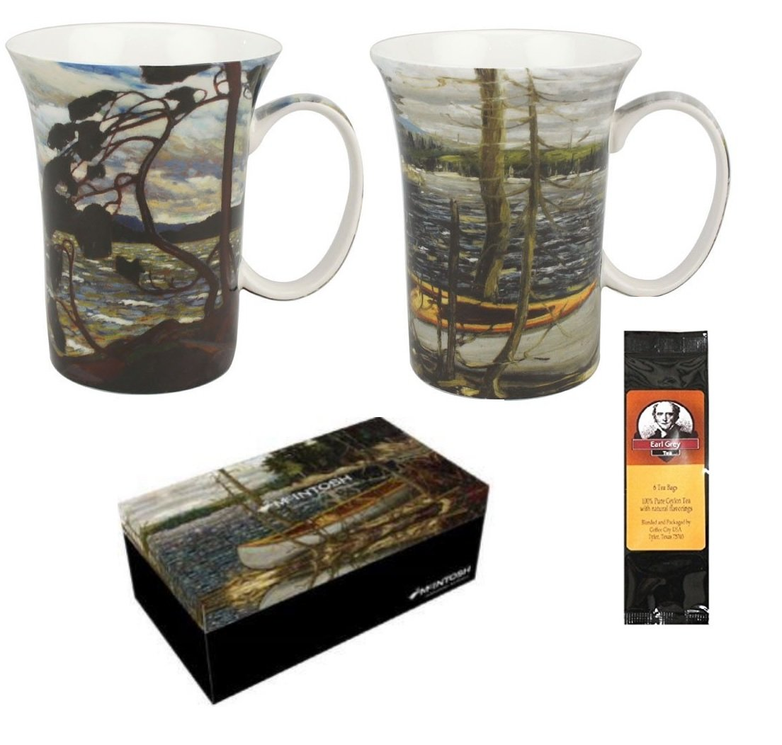 2 Coffee or Tea Mugs Tom Thomson The Canoe and West Wind in a Matching Gift Box Bundle with 1 Gift Package of 6 Tea Bags