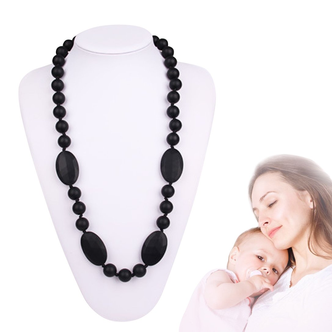 Teething Nursing Necklace Silicone Jewelry Chewelry Chewbeads Baby Gift for Mom to Wear (Black) by TA BABY   B01IDLWX1G