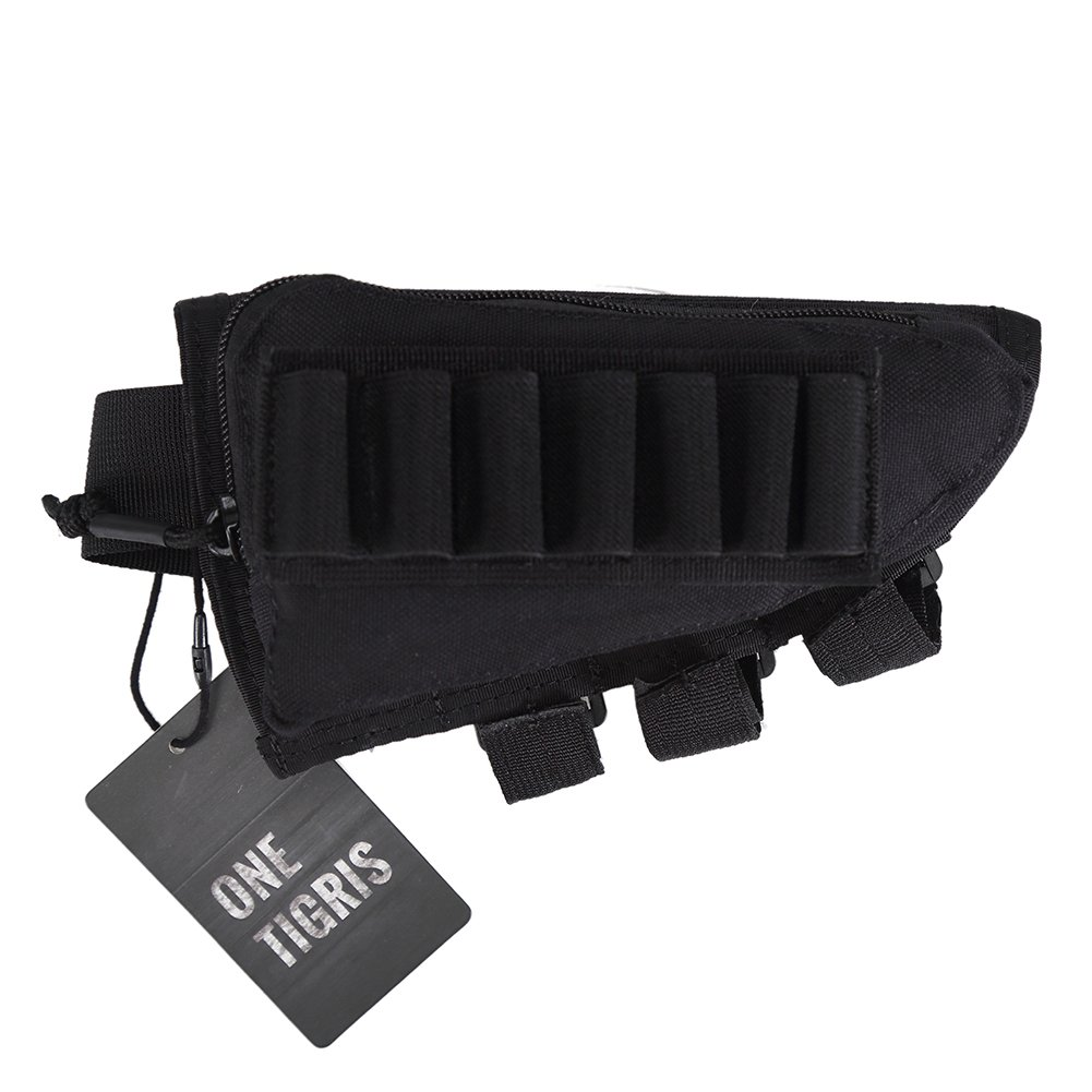 OneTigris Tactical Buttstock Shotgun Rifle Shell Holder Cheek Rest Pouch (Black) by OneTigris