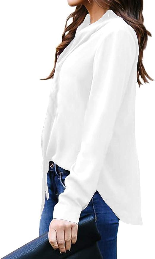 Auxo Mujer Blusas Camisa Elegante Casual Top Encaje Manga Larga ...