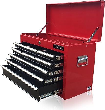 Bo/îte /à outils US Pro Tools Rouge et noire avec 9/tiroirs /à roulement /à billes