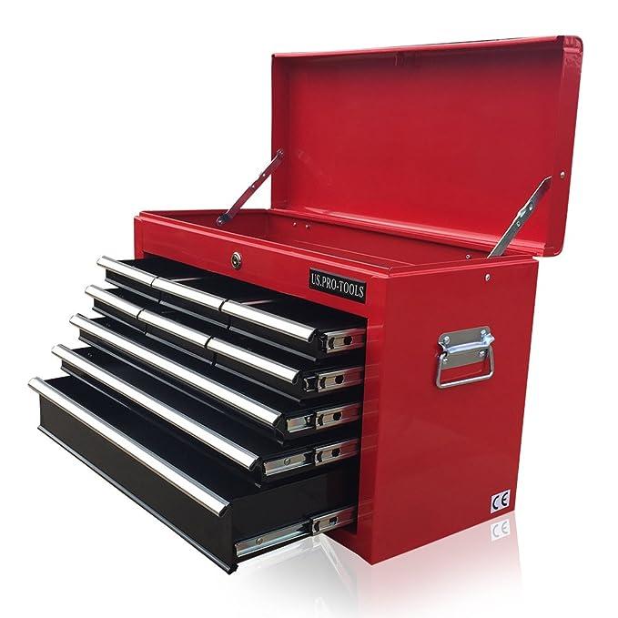 US PRO TOOLS asequible Rojo Negro Pecho Caja De Herramientas armario de herramientas cajón 9 rodamientos de bola cajones: Amazon.es: Bricolaje y ...