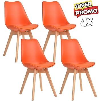 KunstlederStuhl Tulpe Mit Kissen Design 4 Set Gepolstert Stühle RAL54j