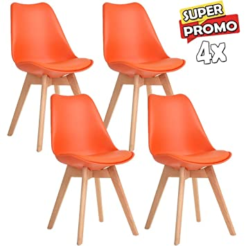 Mit Stühle Kissen Tulpe KunstlederStuhl Set Gepolstert 4 Design mn8OvN0w