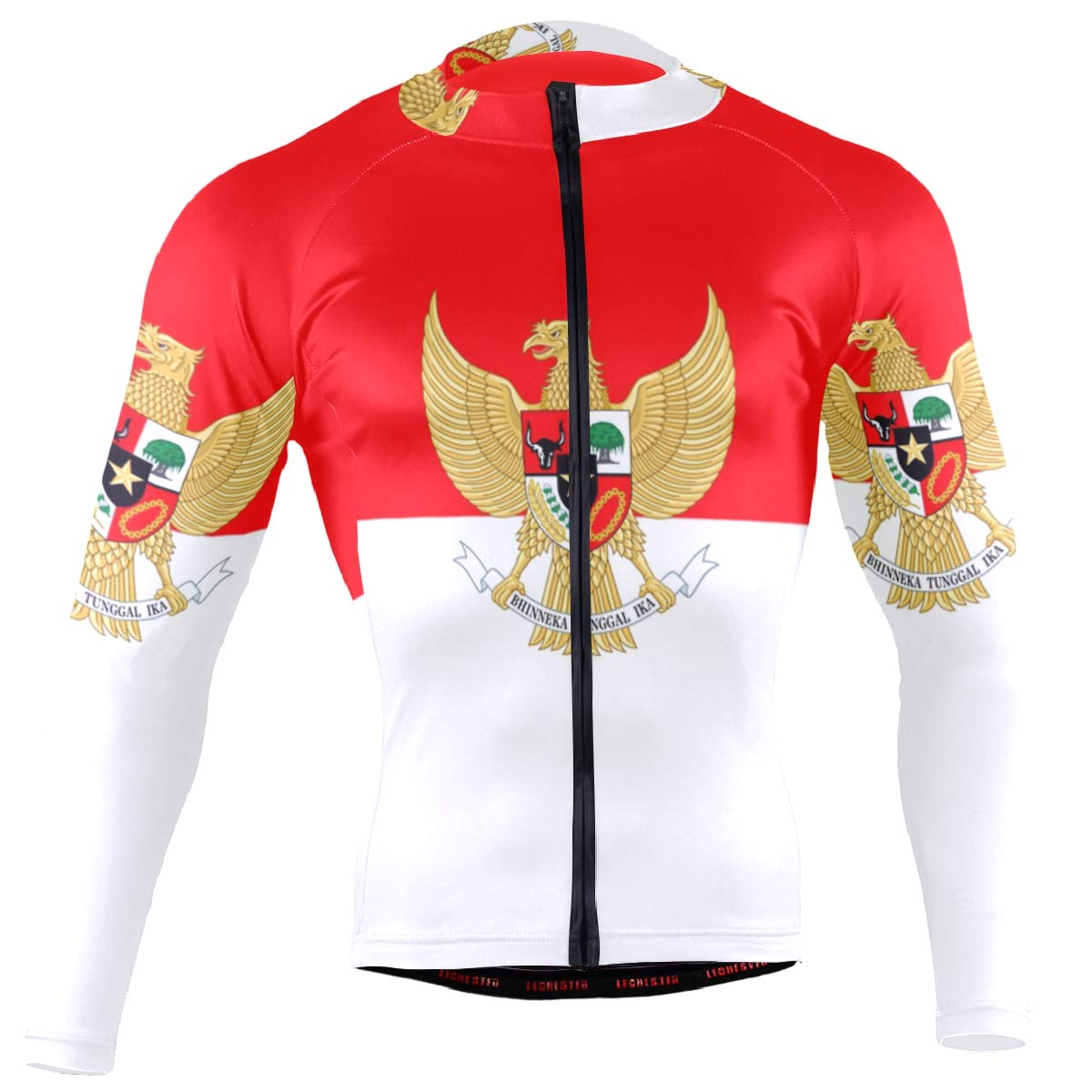 Men's Cycling Jersey Long Sleeve with 3 Rear Pockets Shirt Indonesia Flag National Emblem by CHINEIN