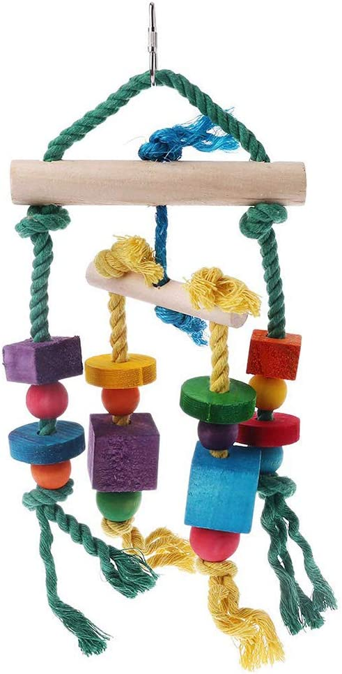 Random Color Colorful Bird Parrot Toys Hanging Toy for Parakeets Cockatiels Small Pet Rubyyouhe8 Bird Accessories/&Colorful Wooden Stand Bar Block Rope Parrot Climb Bite Swing Cage Bird Pet Toy