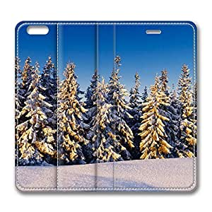 iPhone 6 Plus Case, Fashion Customized Protective PU Leather Flip Case Cover Spruce Trees Covered In Snow for New Apple iPhone 6(5.5 inch) Plus